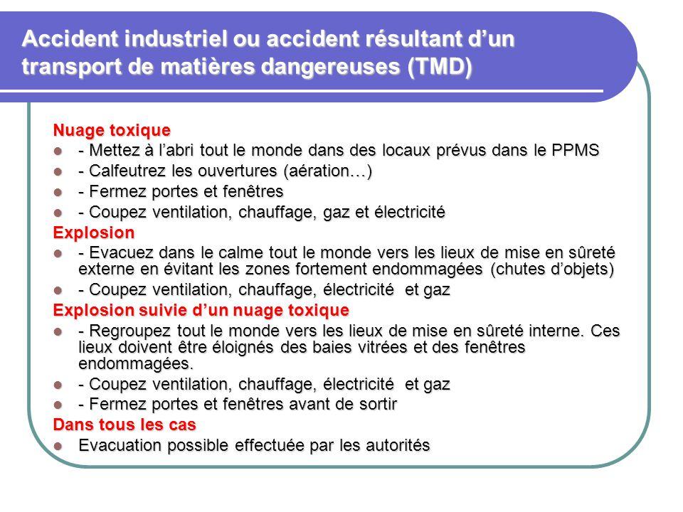 Accident industriel ou accident résultant d'un transport de matières dangereuses (TMD) Nuage toxique - Mettez à l'abri tout le monde dans des locaux p