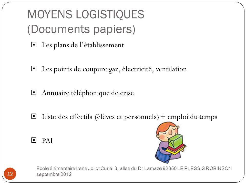 MOYENS LOGISTIQUES (Documents papiers) 12  Les plans de l'établissement  Les points de coupure gaz, électricité, ventilation  Annuaire téléphonique