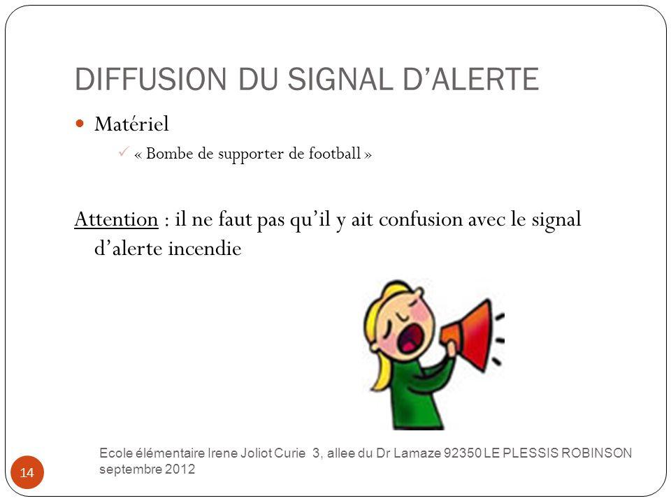 DIFFUSION DU SIGNAL D'ALERTE 14 Matériel « Bombe de supporter de football » Attention : il ne faut pas qu'il y ait confusion avec le signal d'alerte i