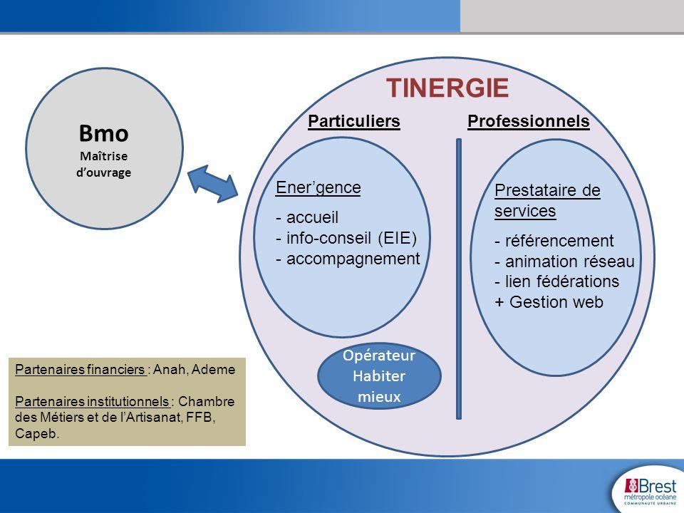 Bmo Maîtrise d'ouvrage TINERGIE Ener'gence - accueil - info-conseil (EIE) - accompagnement ParticuliersProfessionnels Prestataire de services - référe