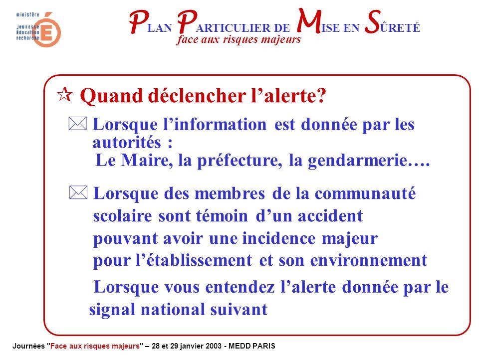 Journées Face aux risques majeurs – 28 et 29 janvier 2003 - MEDD PARIS P LAN P ARTICULIER DE M ISE EN S ÛRETÉ face aux risques majeurs  Comment déclencher l'alerte .