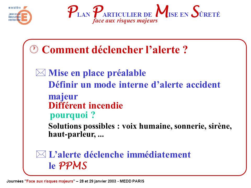 Journées Face aux risques majeurs – 28 et 29 janvier 2003 - MEDD PARIS P LAN P ARTICULIER DE M ISE EN S ÛRETÉ face aux risques majeurs
