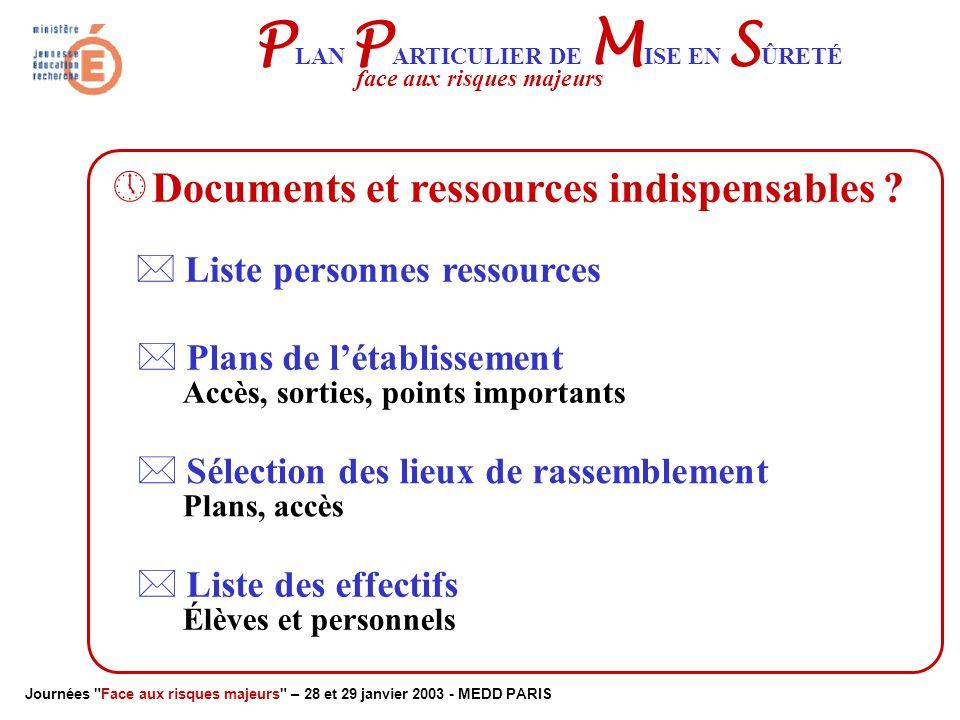 Journées Face aux risques majeurs – 28 et 29 janvier 2003 - MEDD PARIS P LAN P ARTICULIER DE M ISE EN S ÛRETÉ face aux risques majeurs Cellule de Crise Le DOS conseillé par :.