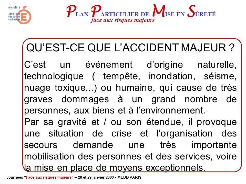 Journées Face aux risques majeurs – 28 et 29 janvier 2003 - MEDD PARIS P LAN P ARTICULIER DE M ISE EN S ÛRETÉ face aux risques majeurs QU'EST-CE QUE L'ACCIDENT MAJEUR .
