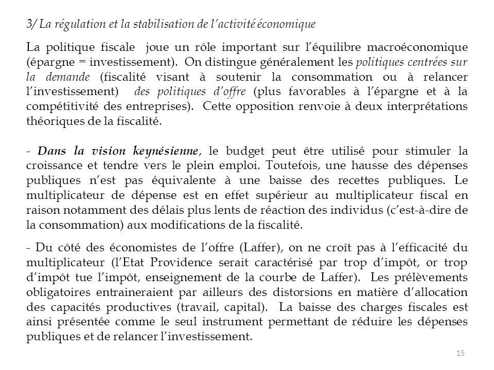 3/ La régulation et la stabilisation de l'activité économique La politique fiscale joue un rôle important sur l'équilibre macroéconomique (épargne = investissement).