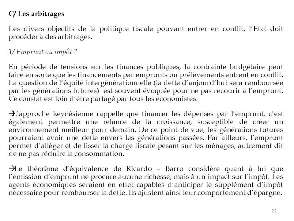 C/ Les arbitrages Les divers objectifs de la politique fiscale pouvant entrer en conflit, l'Etat doit procéder à des arbitrages. 1/ Emprunt ou impôt ?