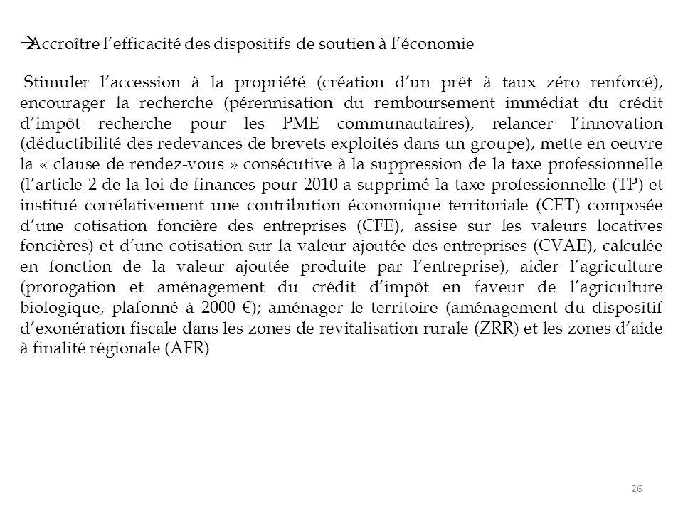  Accroître l'efficacité des dispositifs de soutien à l'économie Stimuler l'accession à la propriété (création d'un prêt à taux zéro renforcé), encourager la recherche (pérennisation du remboursement immédiat du crédit d'impôt recherche pour les PME communautaires), relancer l'innovation (déductibilité des redevances de brevets exploités dans un groupe), mette en oeuvre la « clause de rendez-vous » consécutive à la suppression de la taxe professionnelle (l'article 2 de la loi de finances pour 2010 a supprimé la taxe professionnelle (TP) et institué corrélativement une contribution économique territoriale (CET) composée d'une cotisation foncière des entreprises (CFE), assise sur les valeurs locatives foncières) et d'une cotisation sur la valeur ajoutée des entreprises (CVAE), calculée en fonction de la valeur ajoutée produite par l'entreprise), aider l'agriculture (prorogation et aménagement du crédit d'impôt en faveur de l'agriculture biologique, plafonné à 2000 €); aménager le territoire (aménagement du dispositif d'exonération fiscale dans les zones de revitalisation rurale (ZRR) et les zones d'aide à finalité régionale (AFR) 26