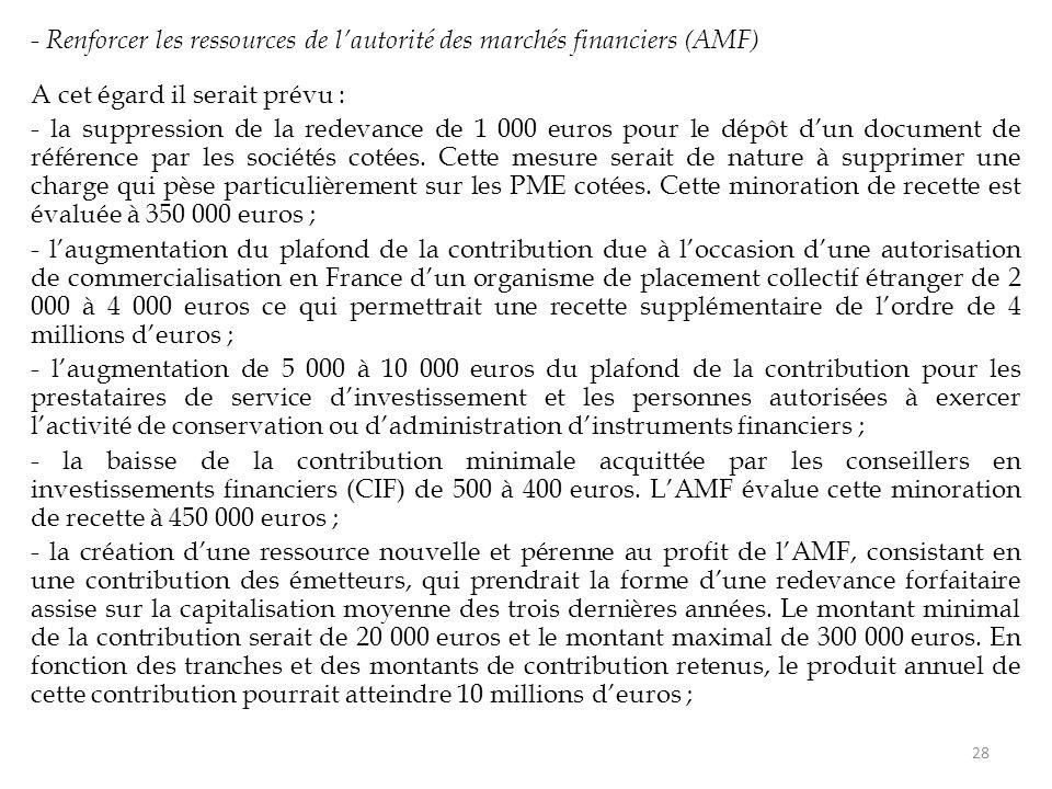 - Renforcer les ressources de l'autorité des marchés financiers (AMF) A cet égard il serait prévu : - la suppression de la redevance de 1 000 euros po