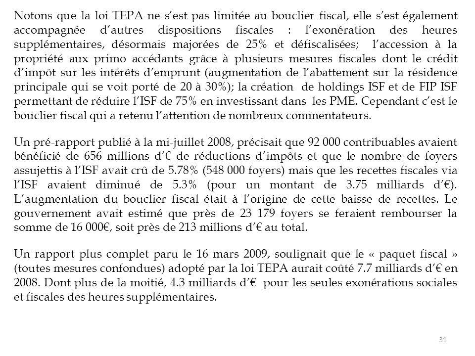 Notons que la loi TEPA ne s'est pas limitée au bouclier fiscal, elle s'est également accompagnée d'autres dispositions fiscales : l'exonération des heures supplémentaires, désormais majorées de 25% et défiscalisées; l'accession à la propriété aux primo accédants grâce à plusieurs mesures fiscales dont le crédit d'impôt sur les intérêts d'emprunt (augmentation de l'abattement sur la résidence principale qui se voit porté de 20 à 30%); la création de holdings ISF et de FIP ISF permettant de réduire l'ISF de 75% en investissant dans les PME.