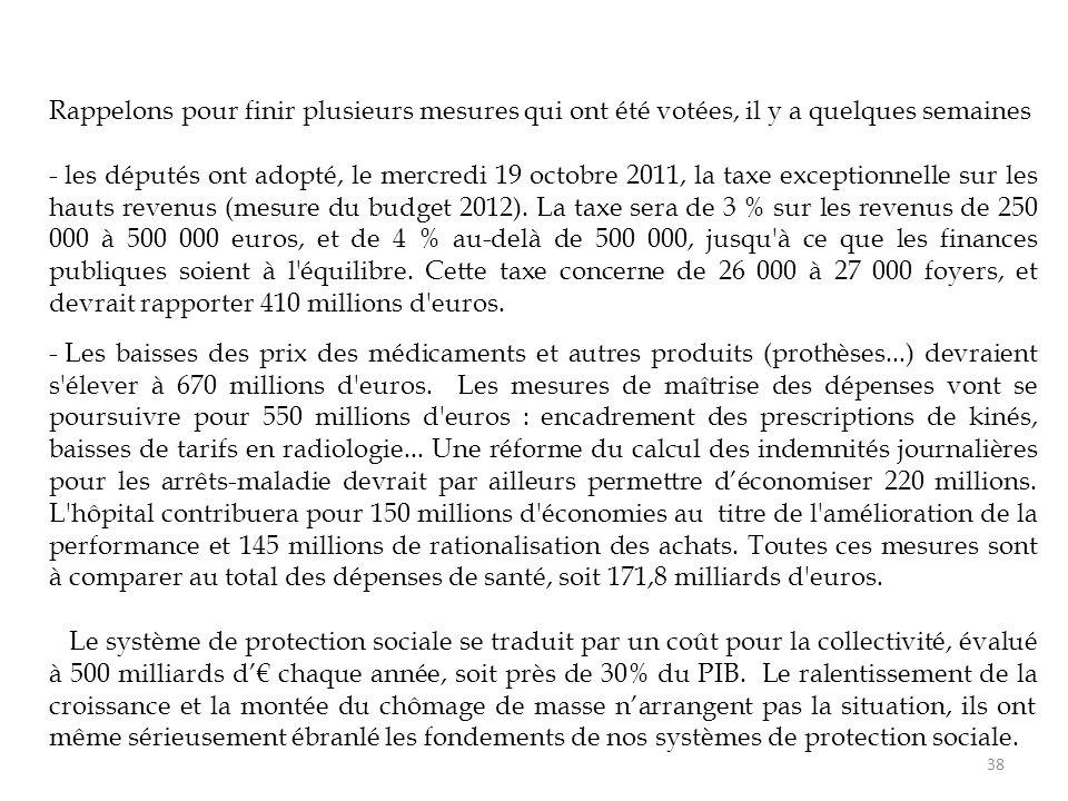 38 Rappelons pour finir plusieurs mesures qui ont été votées, il y a quelques semaines - les députés ont adopté, le mercredi 19 octobre 2011, la taxe exceptionnelle sur les hauts revenus (mesure du budget 2012).