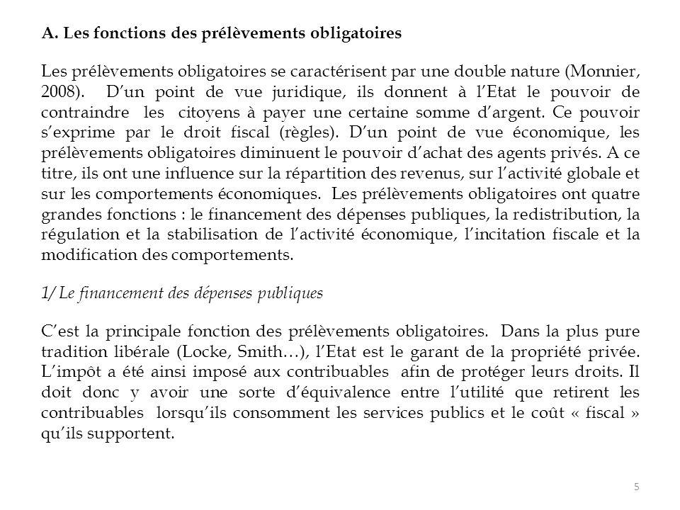 5 A. Les fonctions des prélèvements obligatoires Les prélèvements obligatoires se caractérisent par une double nature (Monnier, 2008). D'un point de v