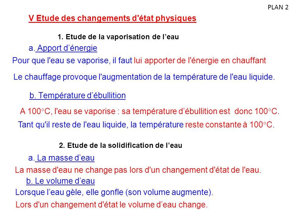 V Etude des changements d'état physiques 1. Etude de la vaporisation de l'eau Pour que l'eau se vaporise, il faut lui apporter de l'énergie en chauffa