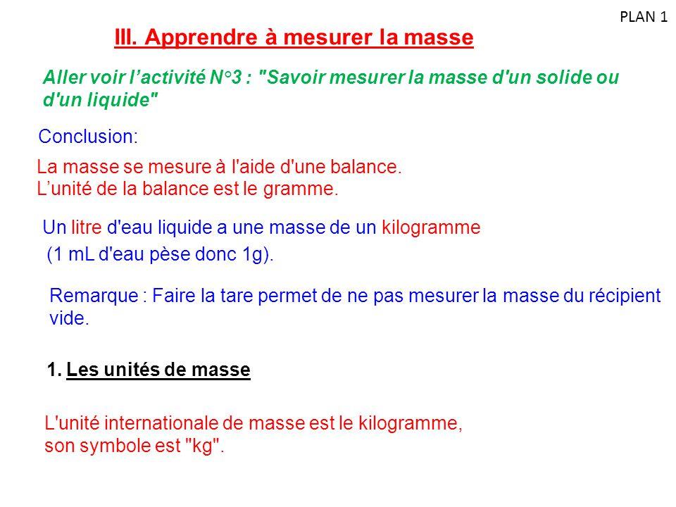 III. Apprendre à mesurer la masse Aller voir l'activité N°3 :