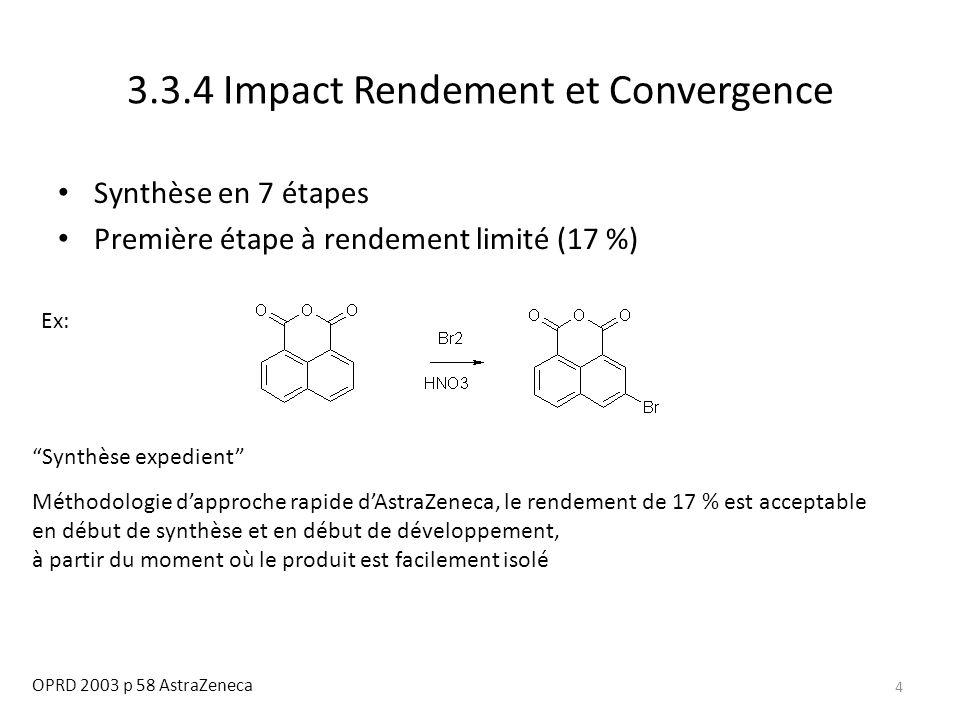 5 3.3.4 Impact Rendement et Convergence OPRD 2003 p 58 AstraZeneca Synthèse expedient Méthodologie d'approche rapide d'AstraZeneca, le rendement de 17 % est acceptable en début de synthèse et en début de développement Le rendement limité incite à réaliser un plan d'expérience afin de vérifier la reproductibilité de la qualité: Pas d'impact (voir partie DoE) ParamètreNiveau bas Niveau haut Température5065 Eq Brome0,750,95 Vitesse intro brome1060 Vol.