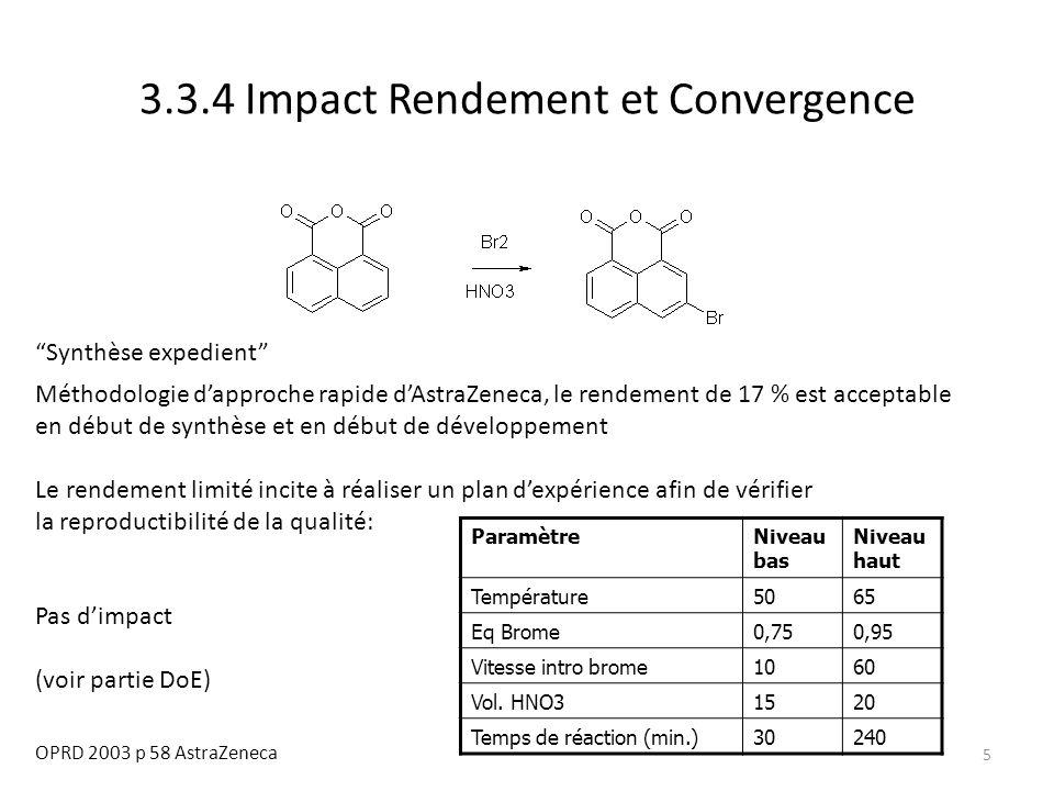 "5 3.3.4 Impact Rendement et Convergence OPRD 2003 p 58 AstraZeneca ""Synthèse expedient"" Méthodologie d'approche rapide d'AstraZeneca, le rendement de"