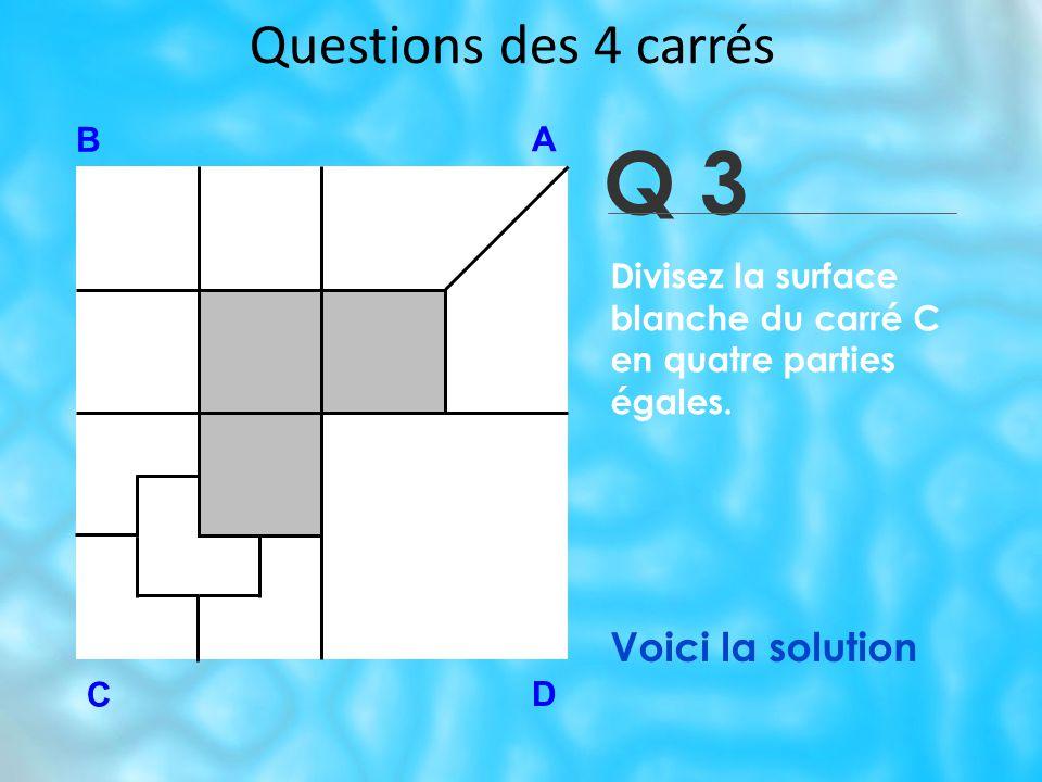 Questions des 4 carrés Q 3 B A D C Voici la solution Divisez la surface blanche du carré C en quatre parties égales.