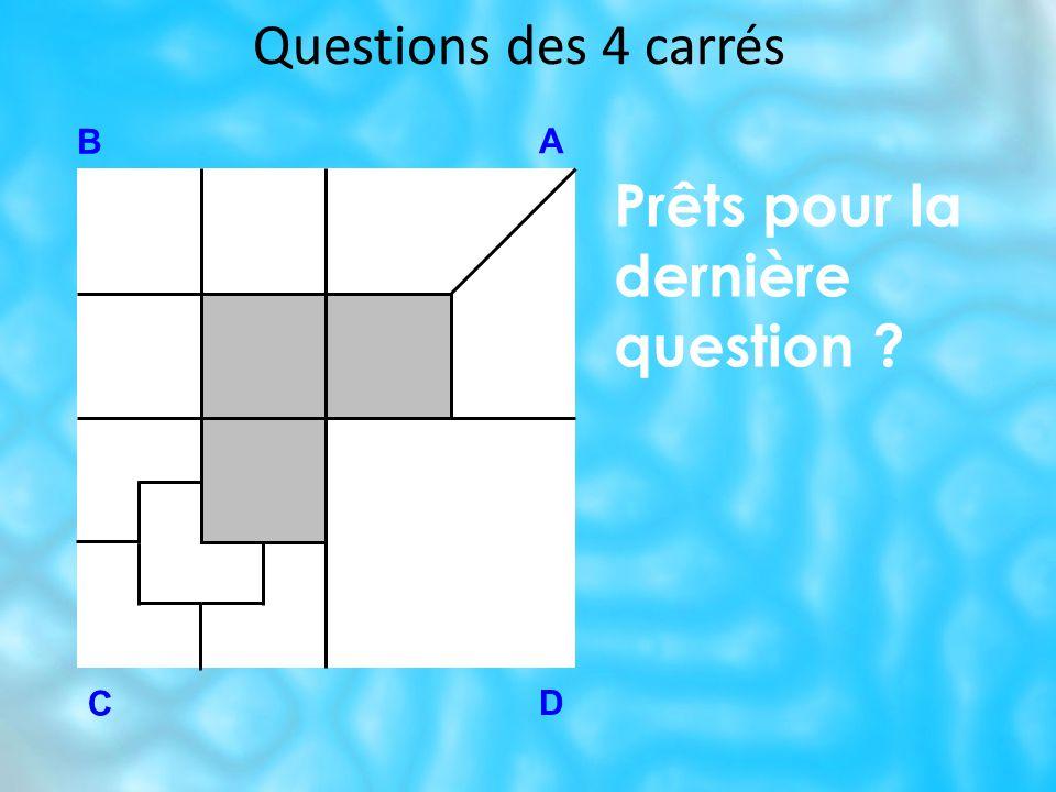 Questions des 4 carrés B A D C Prêts pour la dernière question ?