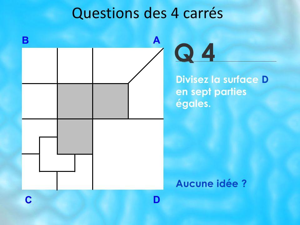 Questions des 4 carrés Q 4 B A D C Aucune idée ? Divisez la surface D en sept parties égales.