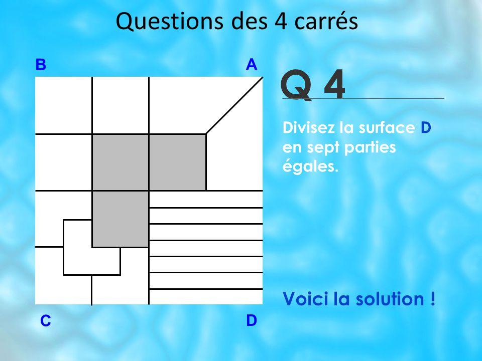 Questions des 4 carrés Q 4 B A D C Voici la solution ! Divisez la surface D en sept parties égales.