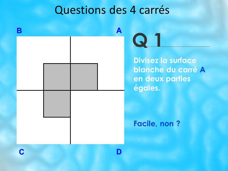 Questions des 4 carrés Q 1 B A D C Divisez la surface blanche du carré A en deux parties égales.