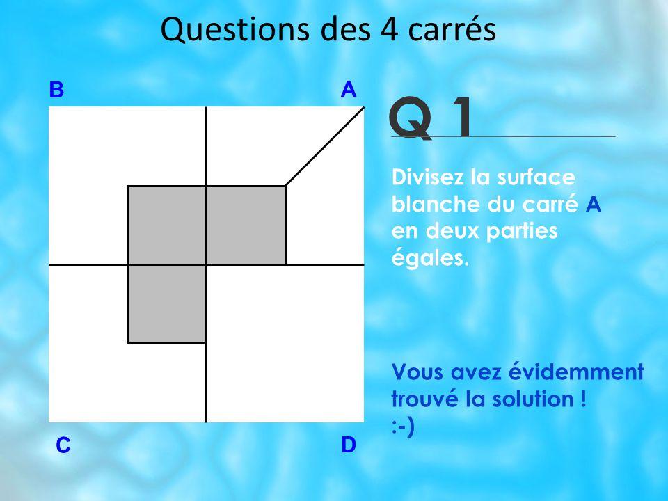 Questions des 4 carrés Q 1 B A D C Vous avez évidemment trouvé la solution .