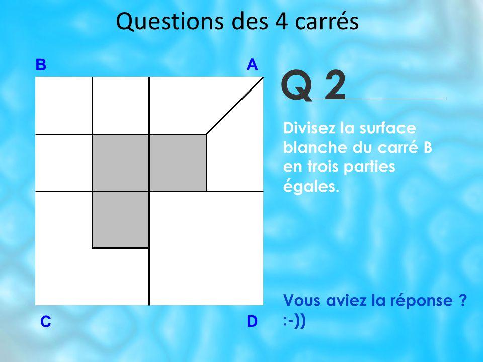 Questions des 4 carrés Q 2 B A D C Vous aviez la réponse .