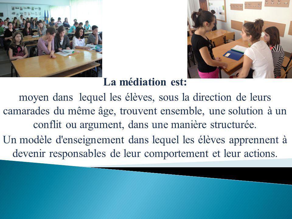 La médiation est: moyen dans lequel les élèves, sous la direction de leurs camarades du même âge, trouvent ensemble, une solution à un conflit ou argument, dans une manière structurée.