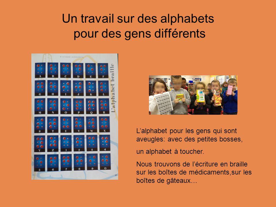 Un travail sur des alphabets pour des gens différents L'alphabet pour les gens qui sont aveugles: avec des petites bosses, un alphabet à toucher.