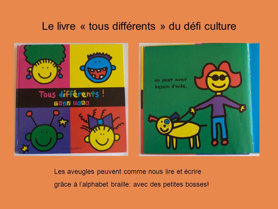Le livre « tous différents » du défi culture Les aveugles peuvent comme nous lire et écrire grâce à l'alphabet braille: avec des petites bosses!