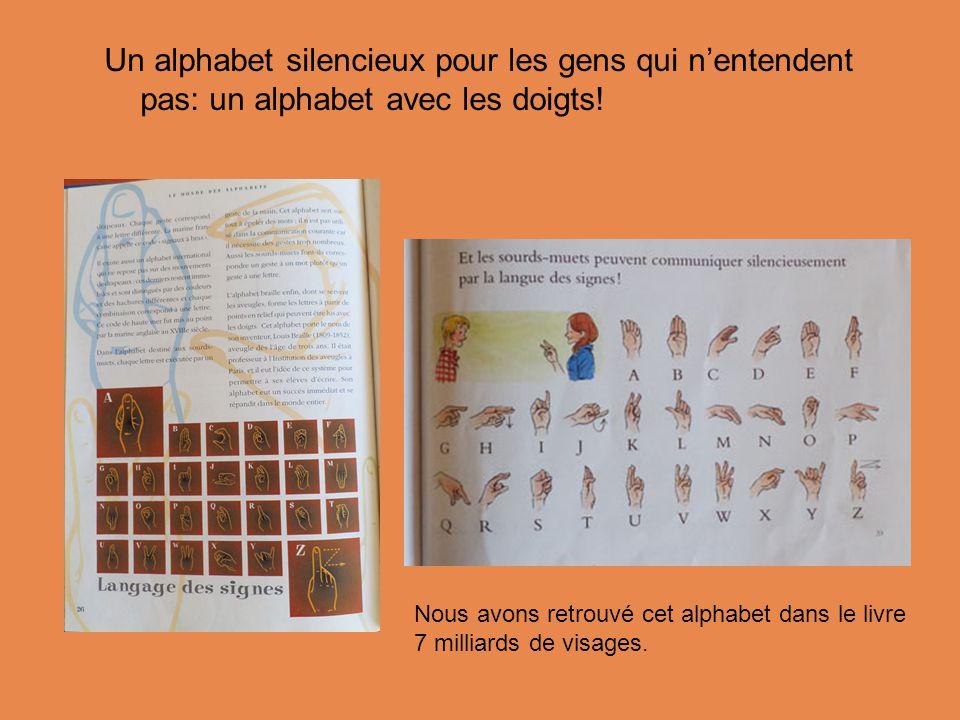 Un alphabet silencieux pour les gens qui n'entendent pas: un alphabet avec les doigts.
