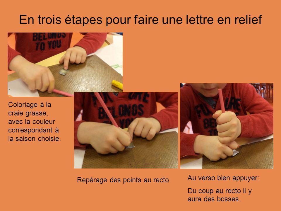 En trois étapes pour faire une lettre en relief Repérage des points au recto Au verso bien appuyer: Du coup au recto il y aura des bosses.