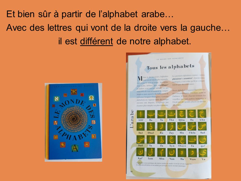 Et bien sûr à partir de l'alphabet arabe… Avec des lettres qui vont de la droite vers la gauche… il est différent de notre alphabet.