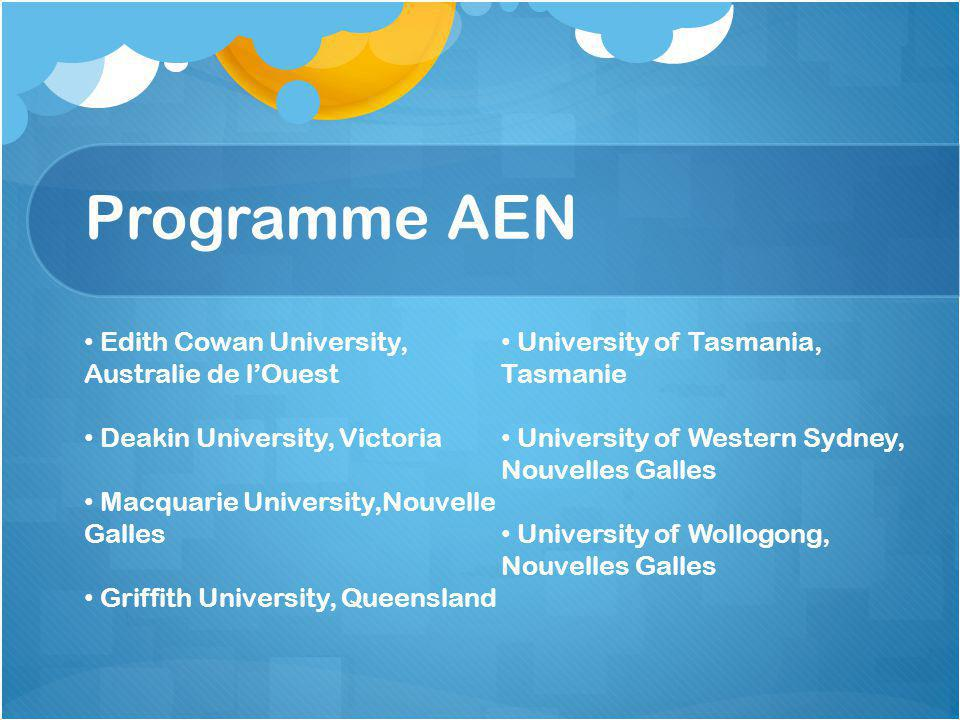 Programme AEN Edith Cowan University, Australie de l'Ouest Deakin University, Victoria Macquarie University,Nouvelle Galles Griffith University, Queensland University of Tasmania, Tasmanie University of Western Sydney, Nouvelles Galles University of Wollogong, Nouvelles Galles