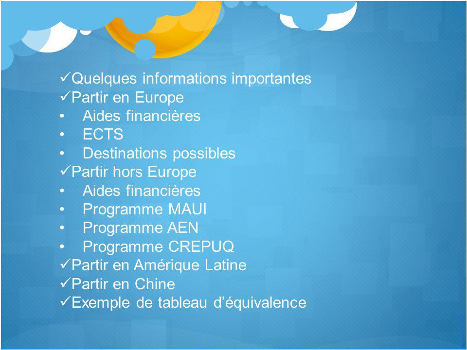Programme CREPUQ Uniquement au Québec Prévoir 12 000 $ CAN (sans compter transport) Fonctionnement par crédit