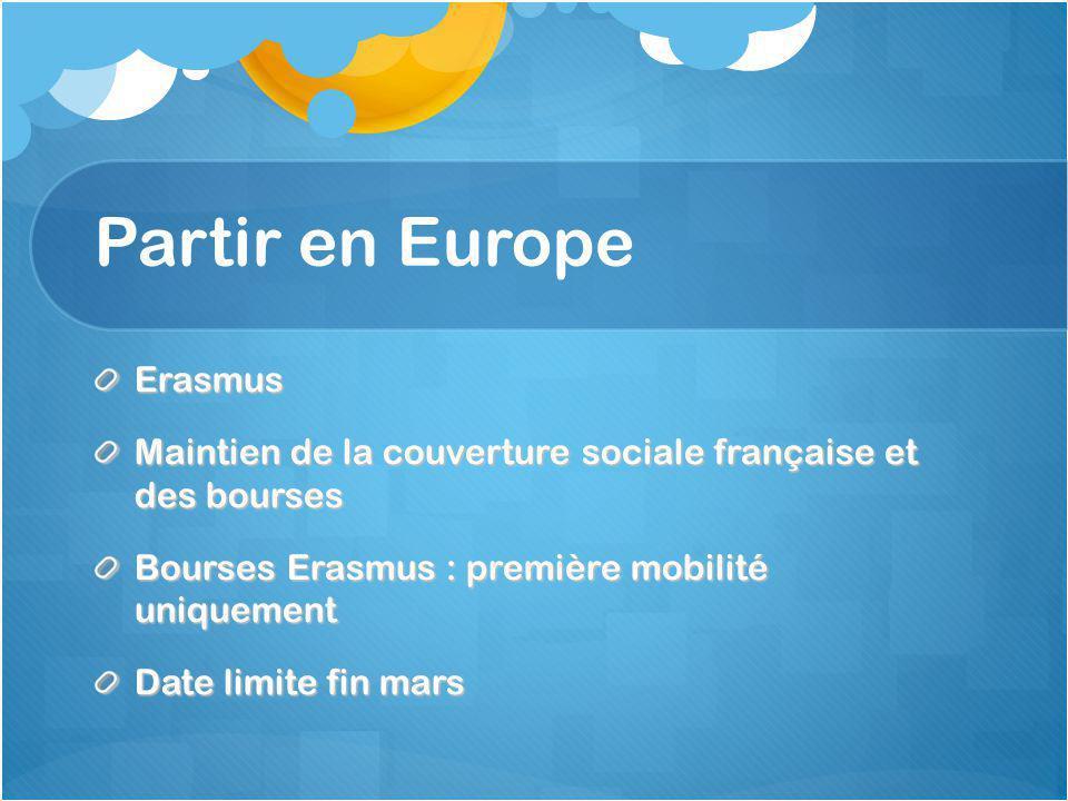 Les aides financières Etudiants boursiersEtudiants non boursiers Bourse Erasmus : 160 € / mois Conseil Général du Nord : 91,50 € / mois Bourse de mobilité de l'éducation nationale BOMI : 400 € / mois (selon barème) Aide aux voyages du NPC de 100 à 200 € selon destination Bourse Erasmus : 160 € / mois Bourse Blériot (critères + 3 mois) : 389 € / mois Conseil Général du Nord : 91,50 € / mois