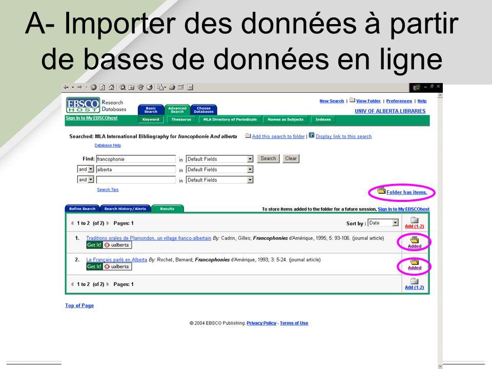 A- Importer des données à partir de bases de données en ligne
