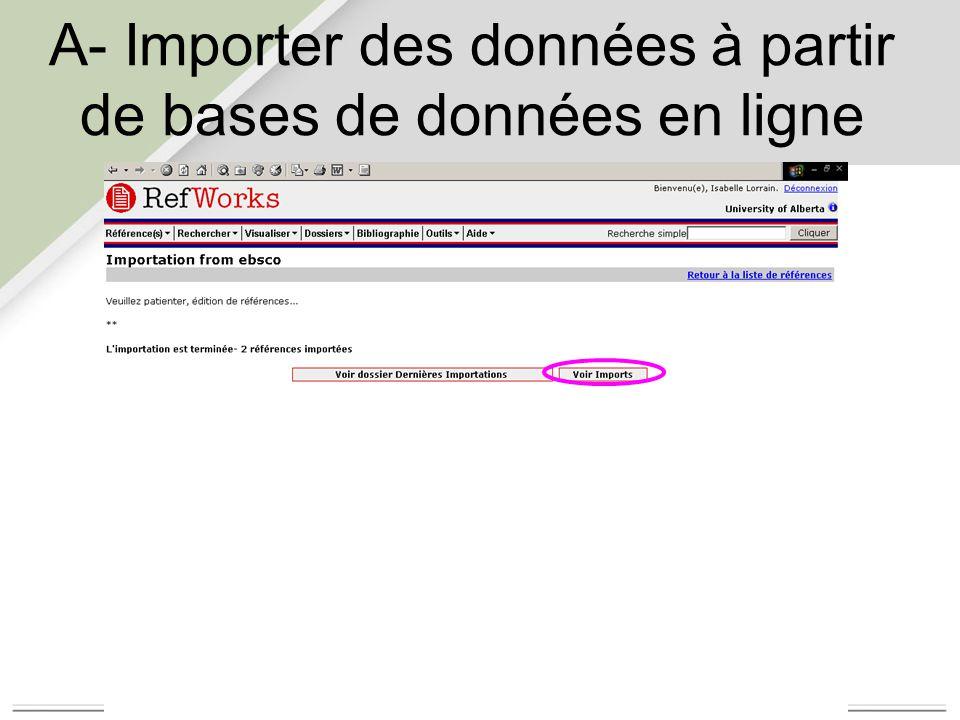 B- Importer des données à partir d un fichier texte