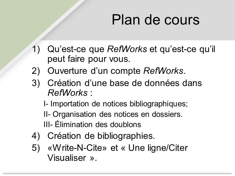 Plan de cours 1)Qu'est-ce que RefWorks et qu'est-ce qu'il peut faire pour vous.