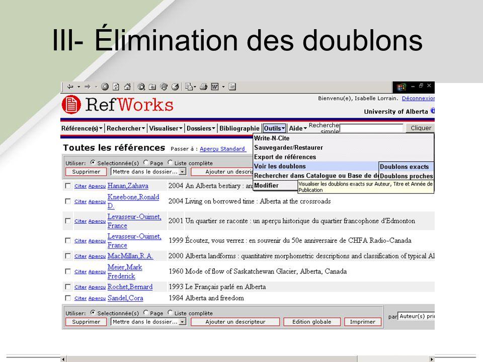 III- Élimination des doublons