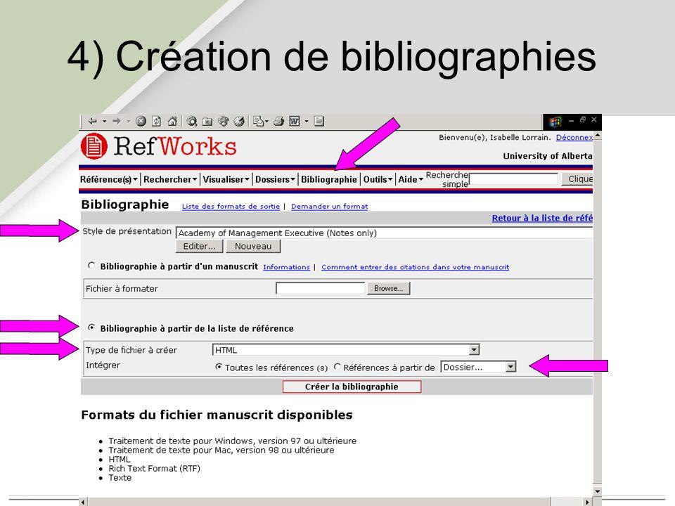 4) Création de bibliographies