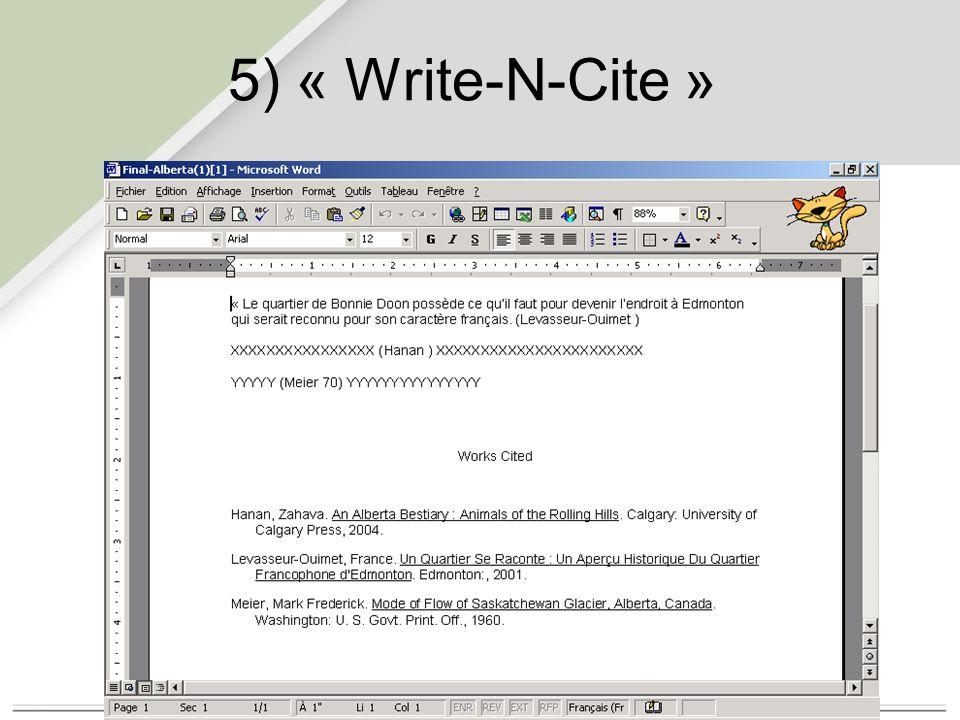 5) « Une ligne/Citer Visualiser »