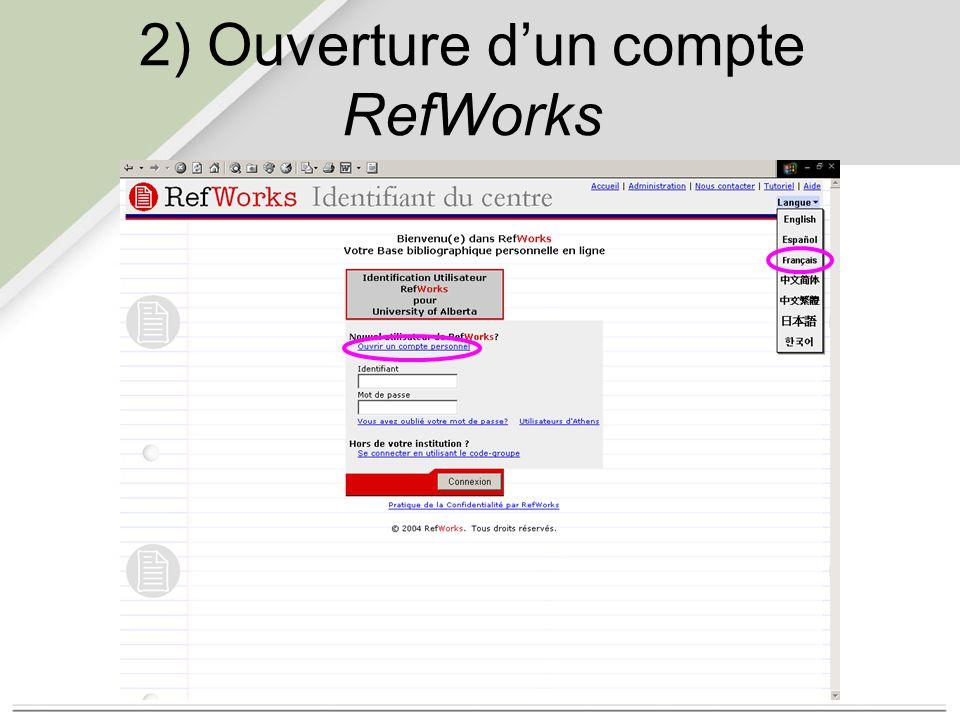 2) Ouverture d'un compte RefWorks