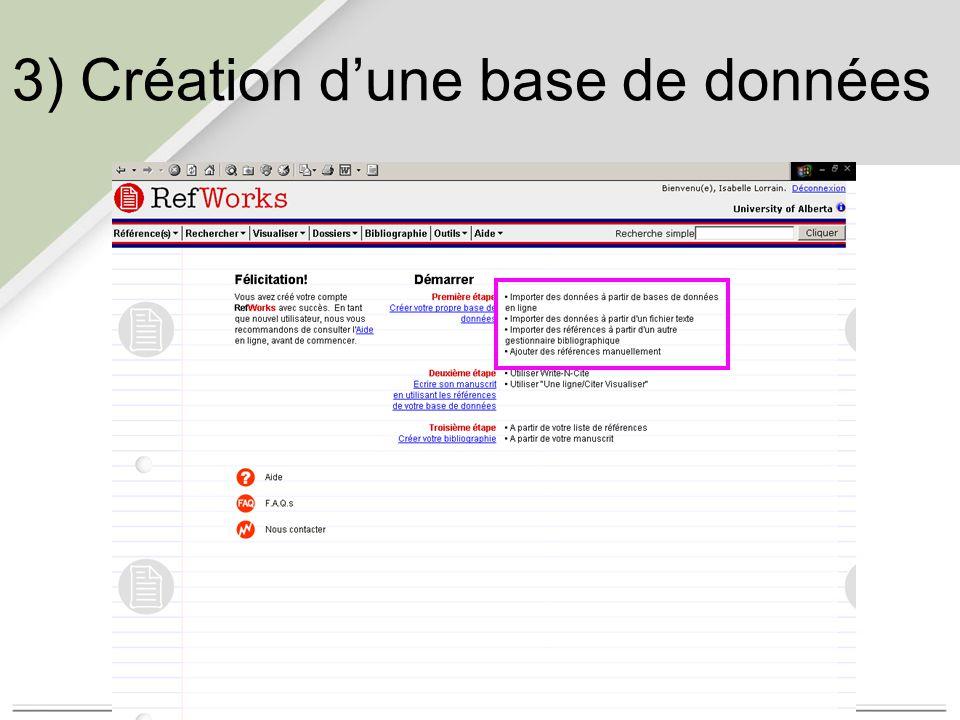 3) Création d'une base de données