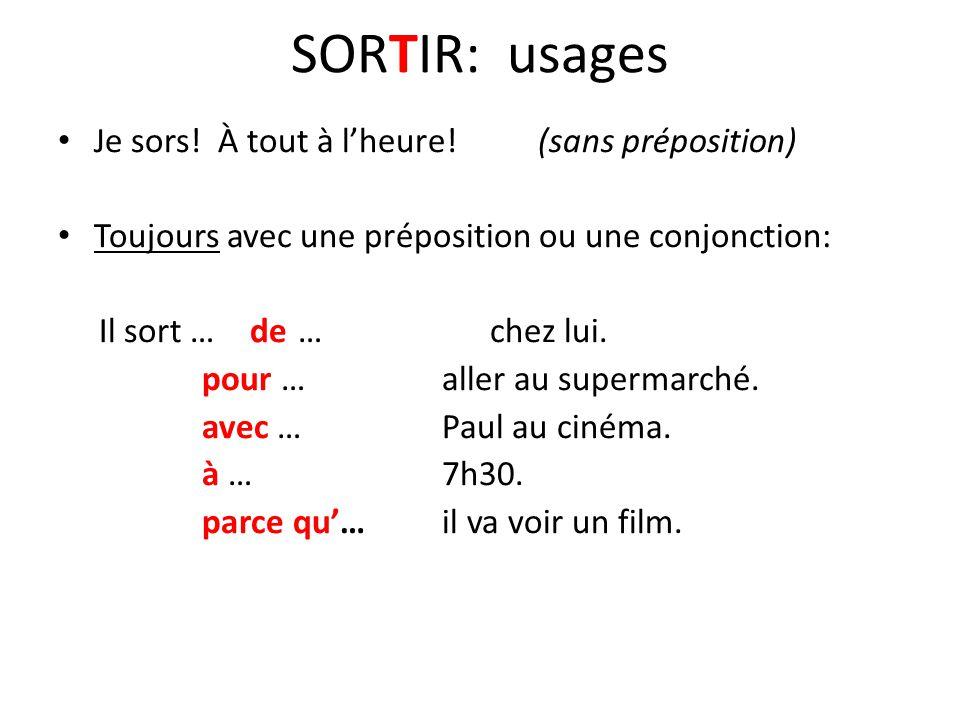 SORTIR: usages Je sors.