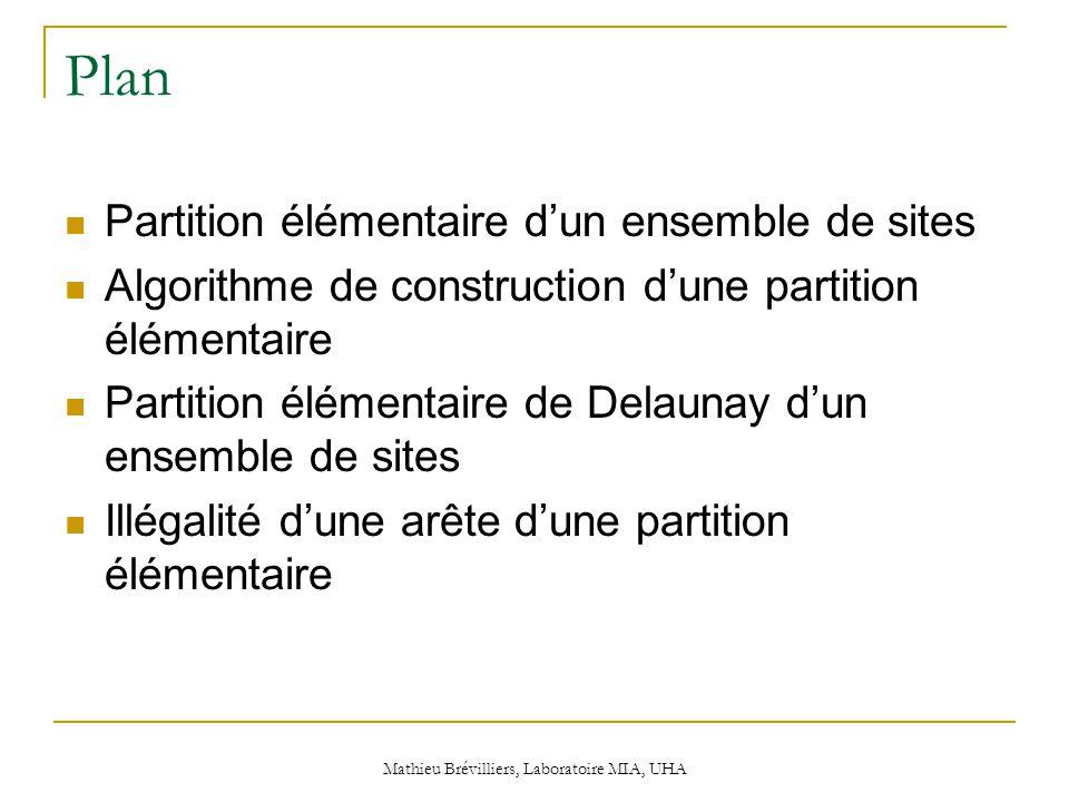 Mathieu Brévilliers, Laboratoire MIA, UHA Plan Partition élémentaire d'un ensemble de sites Algorithme de construction d'une partition élémentaire Partition élémentaire de Delaunay d'un ensemble de sites Illégalité d'une arête d'une partition élémentaire