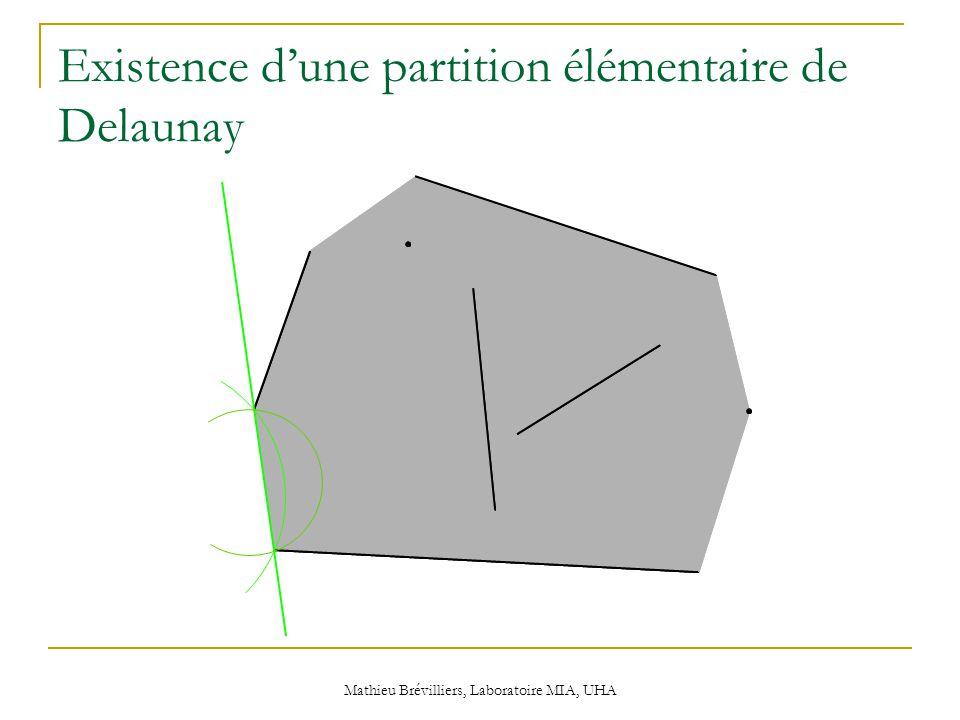 Mathieu Brévilliers, Laboratoire MIA, UHA Existence d'une partition élémentaire de Delaunay