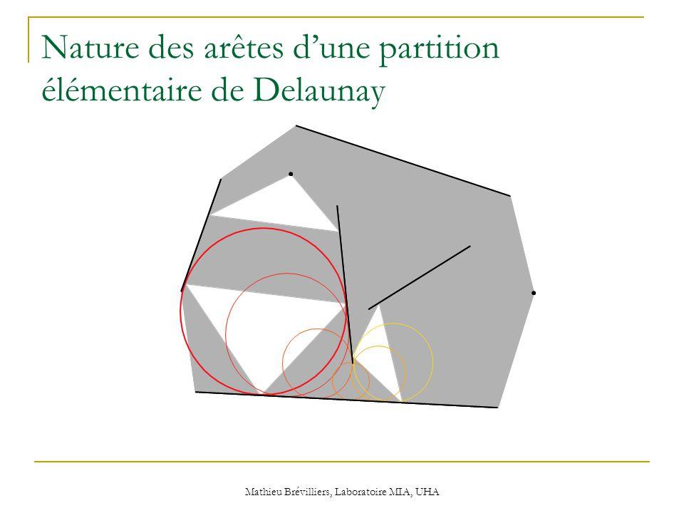 Mathieu Brévilliers, Laboratoire MIA, UHA Nature des arêtes d'une partition élémentaire de Delaunay