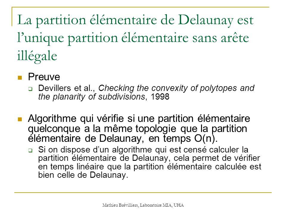 Mathieu Brévilliers, Laboratoire MIA, UHA La partition élémentaire de Delaunay est l'unique partition élémentaire sans arête illégale Preuve  Devillers et al., Checking the convexity of polytopes and the planarity of subdivisions, 1998 Algorithme qui vérifie si une partition élémentaire quelconque a la même topologie que la partition élémentaire de Delaunay, en temps O(n).