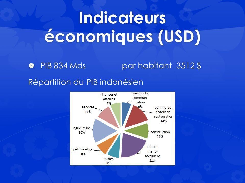 Indicateurs économiques (USD)  PIB 834 Mds par habitant 3512 $ Répartition du PIB indonésien