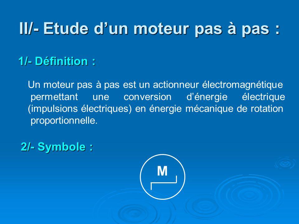 II/- Etude d'un moteur pas à pas : 1/- Définition : Un moteur pas à pas est un actionneur électromagnétique permettant une conversion d'énergie électr